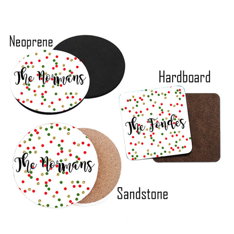 Personalized Glitter Christmas Coasters