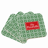 Personalized Red & Green Christmas Coasters