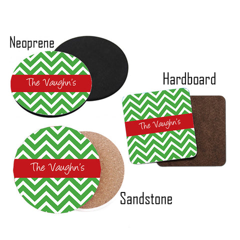 Personalized Green Chevron Christmas Coasters
