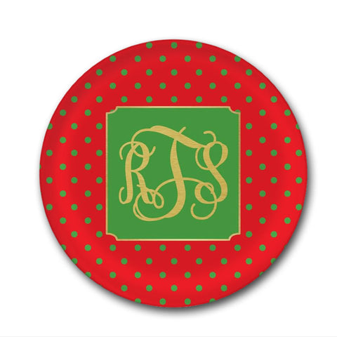 Gold Monogrammed Christmas Plate