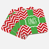 Monogram Red & Green Christmas Coaster