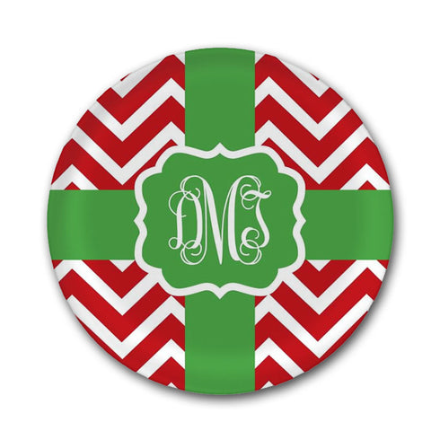 Red and Green Christmas Plate with Initials