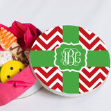 Monogrammed Christmas Ribbon Cookie Tin