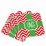 Red & White Monogram Christmas Coasters