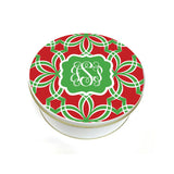 Monogrammed Green & Red Cookie Tin