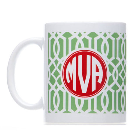 Personalized Green Celtic Print Christmas Mug