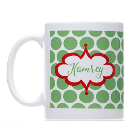 Personalized Green Christmas Mug