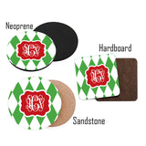 Monogrammed Initial Christmas Coasters