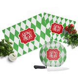 Monogram Christmas Cutting Board  Harlequin