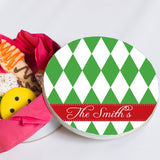 Name Personalized Harlequin Christmas Cookie Tin