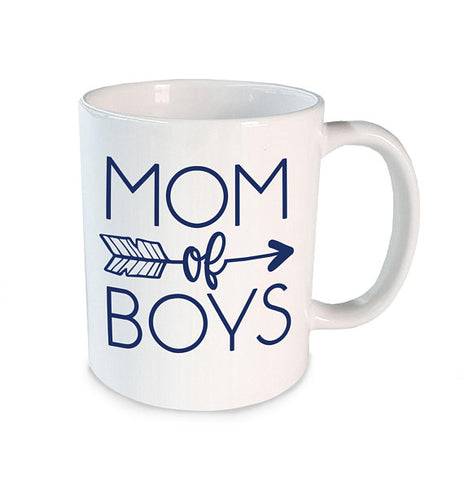 white mug with mom of boys imprinted