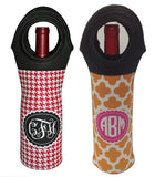 monogram wine bottle tote set of 2