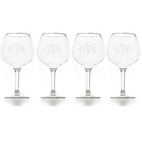 4 Monogram Wine Glasses
