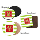 Personalized Striped Christmas Coasters