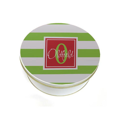 Personalized Green Striped Christmas Cookie Tin