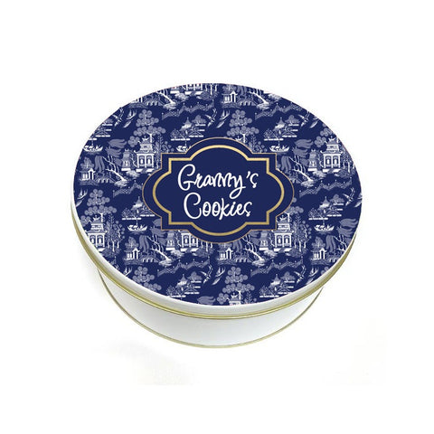 Blue and White Toile Cookie Tin