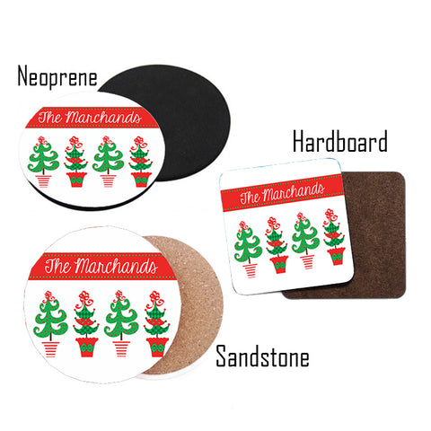 Personalized Christmas  Tree Coasters