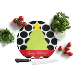 Personalized Polka Dot Tree Christmas Cutting Board