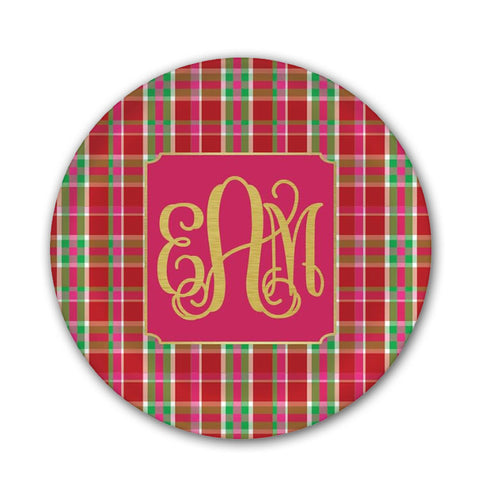 Monogram Plaid Christmas Plate