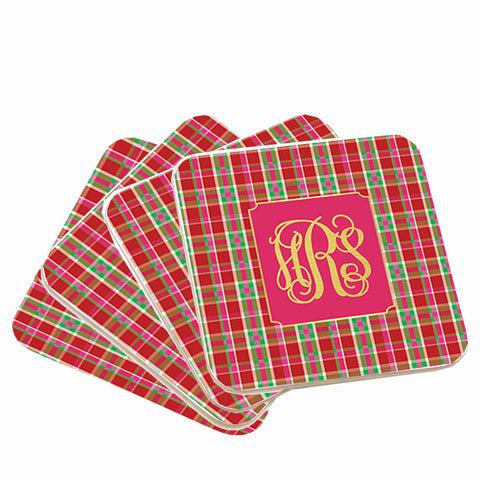 Personalized Plaid Christmas Coasters