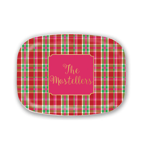 Personalized Plaid Christmas Serving Platter