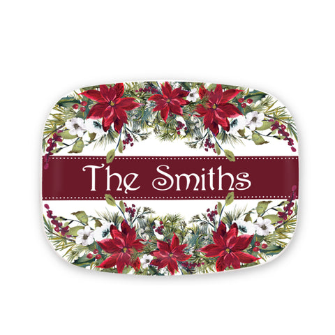 Personalized Poinsettia Platter