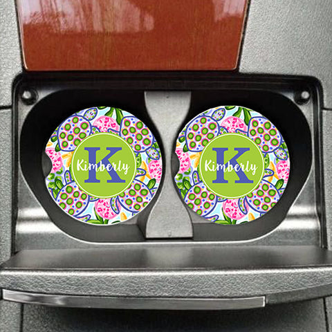 Personalized Car Coasters Preppy