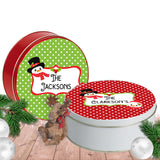 set of 2 colorful Christmas Cookie Cans with names