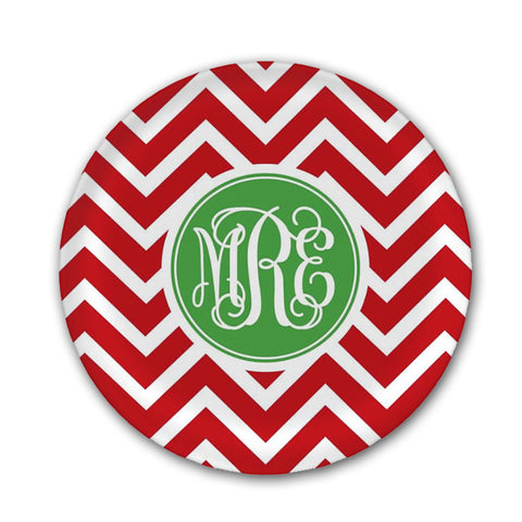 Personalized Red & White Zig Zag Plate