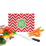 Red Chevron Christmas Monogrammed Cutting Board