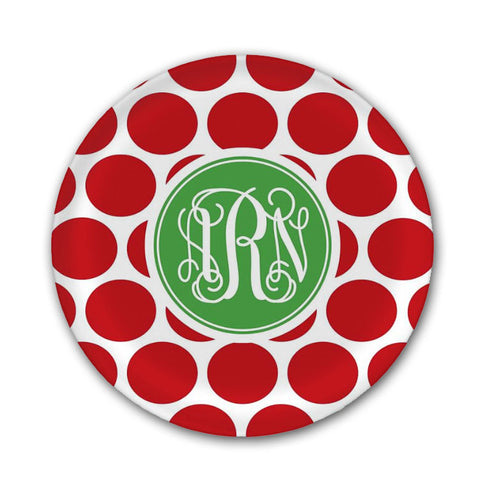 Monogrammed Red Dots Melamine Plate