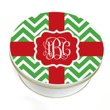 Red & Green Monogrammed Christmas Cookie Tin