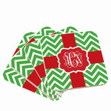 Red & Green Monogram Christmas Coasters