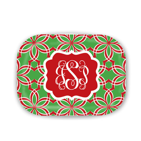 Personalized Red Ribbon Christmas Platter