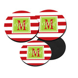 Personalized Red Stripe Christmas Coaster Set