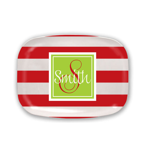 Monogrammed Red Stripe Platter