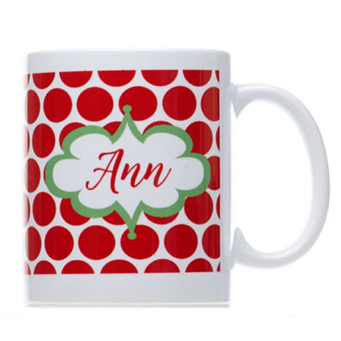 Personalized Red Polka Dot Christmas Mug