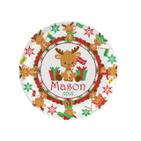 rudloph reindeer melamine plate with personalization