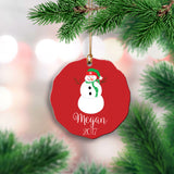 Personalized Red Snowman Ornament