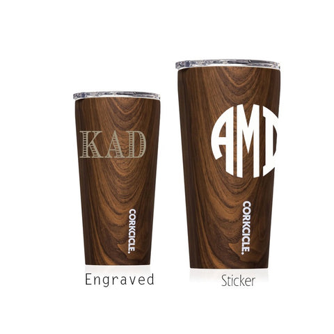 Monogram Walnut Corkcicle Tumbler