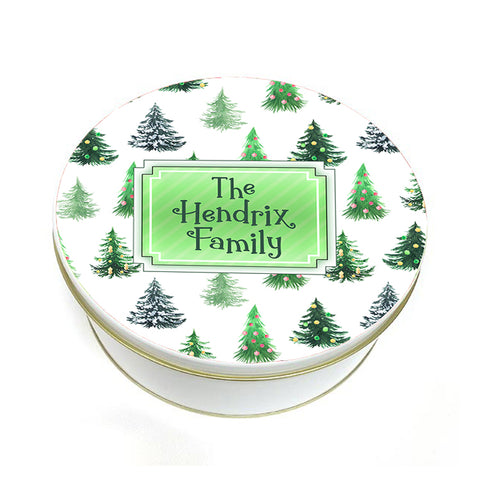 green christmas trees printed cookie tin with name