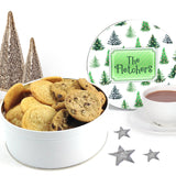 Watercolor Christmas Tree Cookie Tin