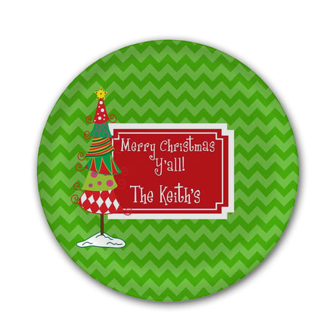Whimsey Christmas Tree Melamine Plate