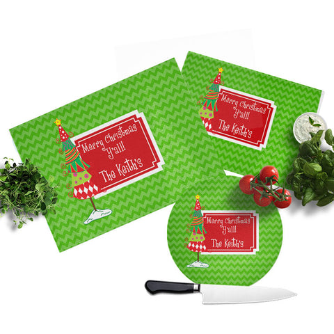 Personalized Christmas Glass Cutting Board