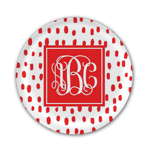Monogram White and Red Melamine Plate