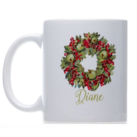 Personalized Christmas Wreath Coffee Mug