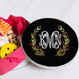 Monogrammed Christmas Wreath Treat Tin