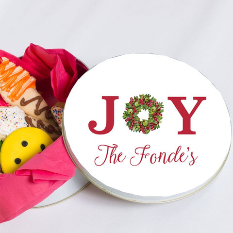 Personalized Joy Christmas Cookie Tin