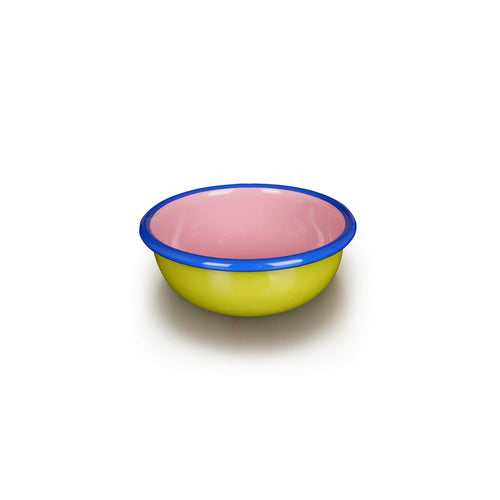 Small Chartreuse + Pink Bowl with Blue Rim