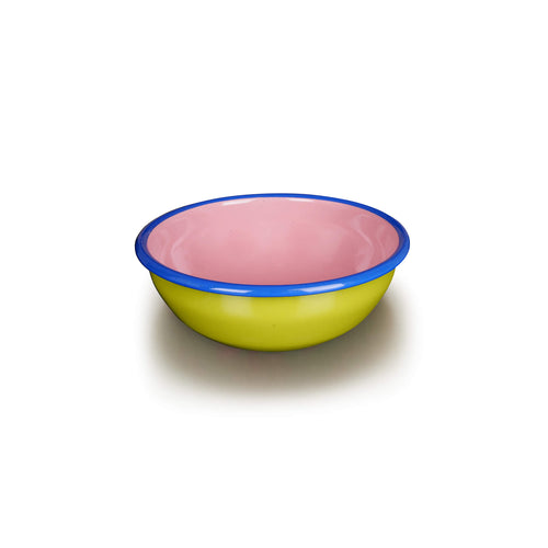 Medium Chartreuse + Pink Bowl with Blue Rim